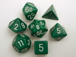 Chessex Opaque Polydice Set - Green/white