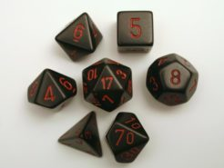 Chessex Opaque Polydice Set - Black/red