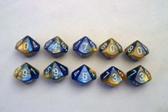 Chessex Gemini 10 x D10 Set - Blue-Gold/white