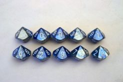 Chessex Gemini 10 x D10 Set - Blue-Steel/white
