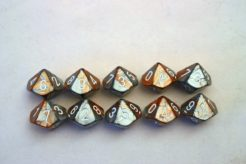 Chessex Gemini 10 x D10 Set - Copper-Steel/white