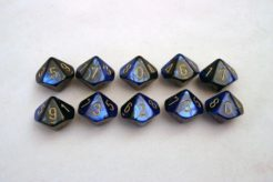 Chessex Gemini 10 x D10 Set - Black-Blue/gold