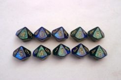 Chessex Gemini 10 x D10 Set - Blue-Green/gold