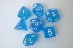 Chessex Polydice Set - Frosted Caribbean Blue/wh