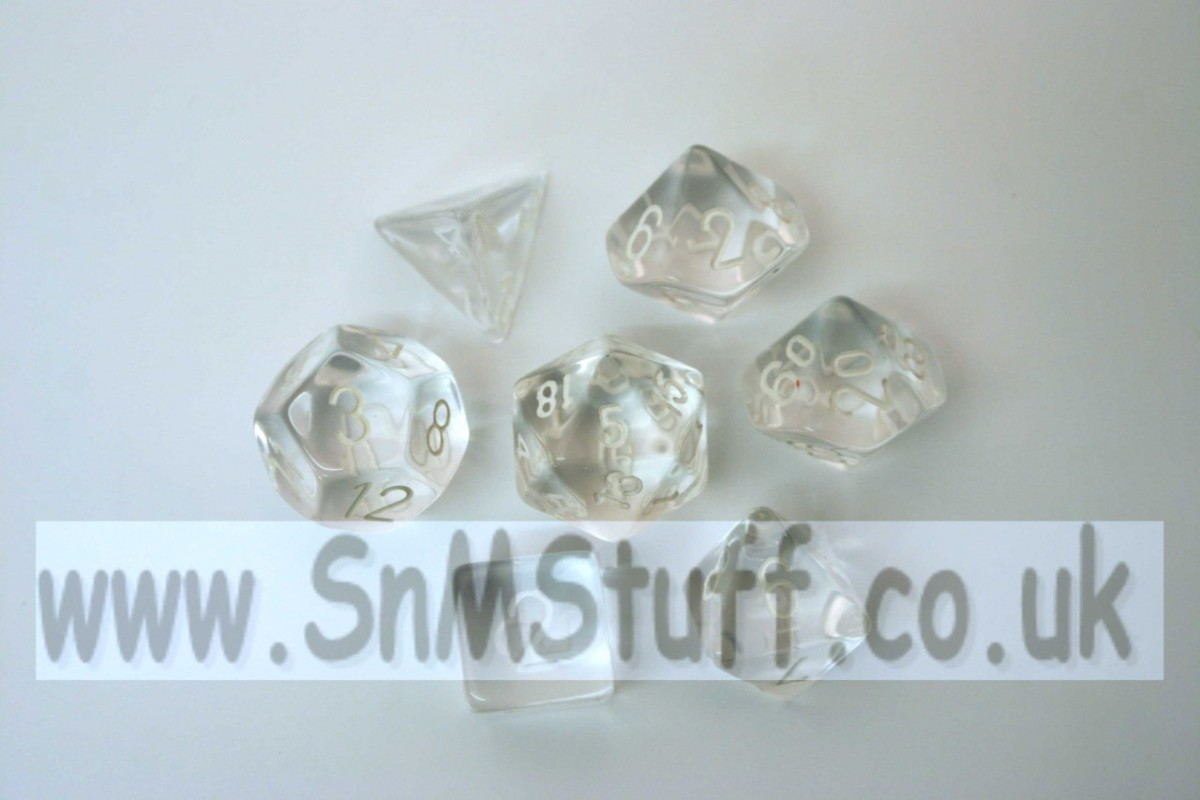 Chessex Translucent Clear/white  Polydice Set