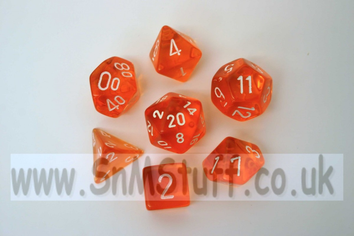 Chessex Translucent Orange/white  Polydice Set