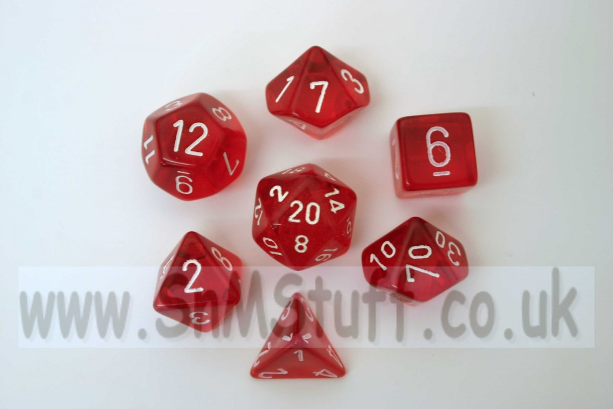 Chessex Translucent Red/white  Polydice Set