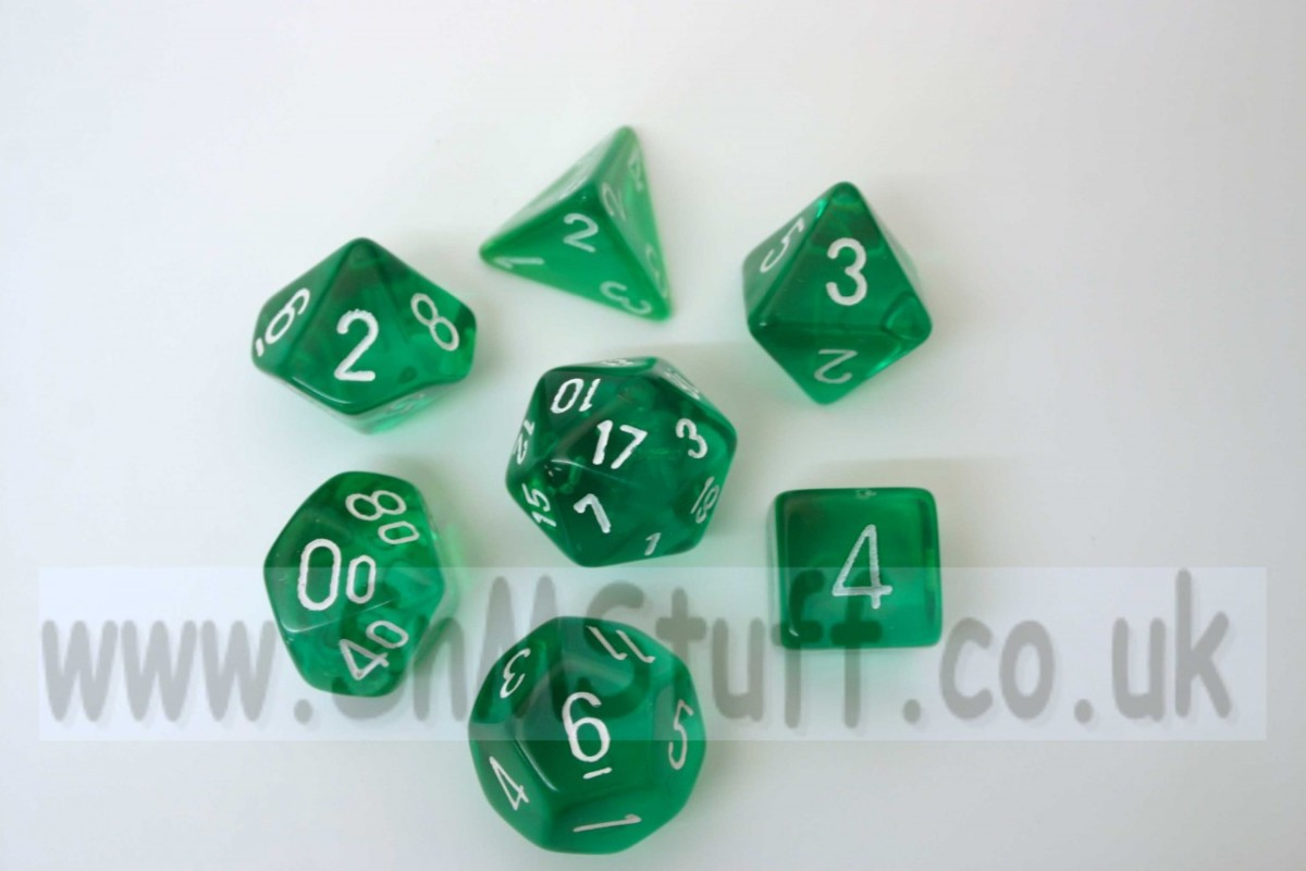 Chessex Translucent Green/white  Polydice Set
