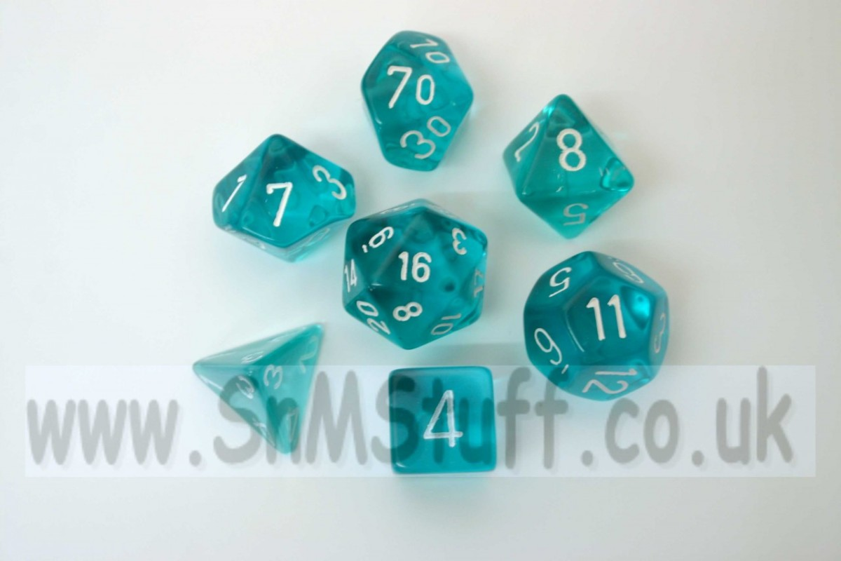 Chessex Translucent Teal/white  Polydice Set