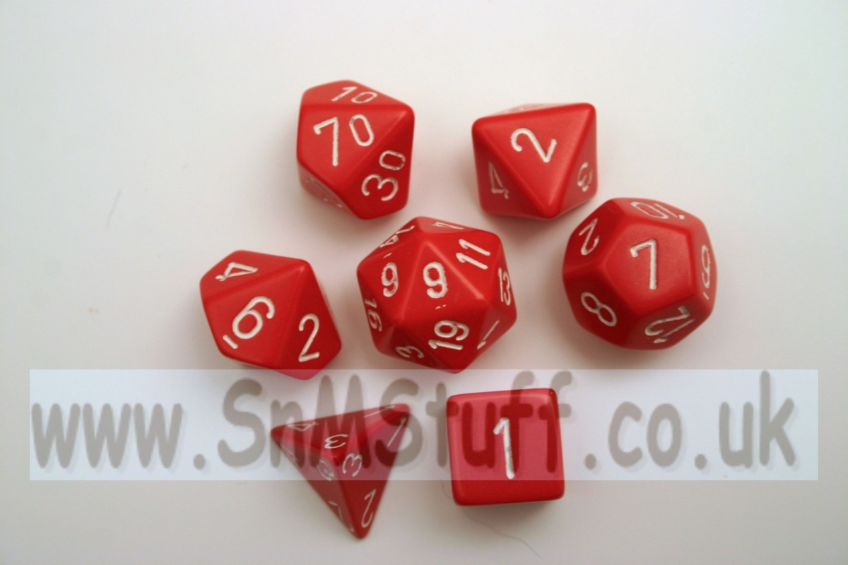 Chessex Opaque Polydice Set - Red/white