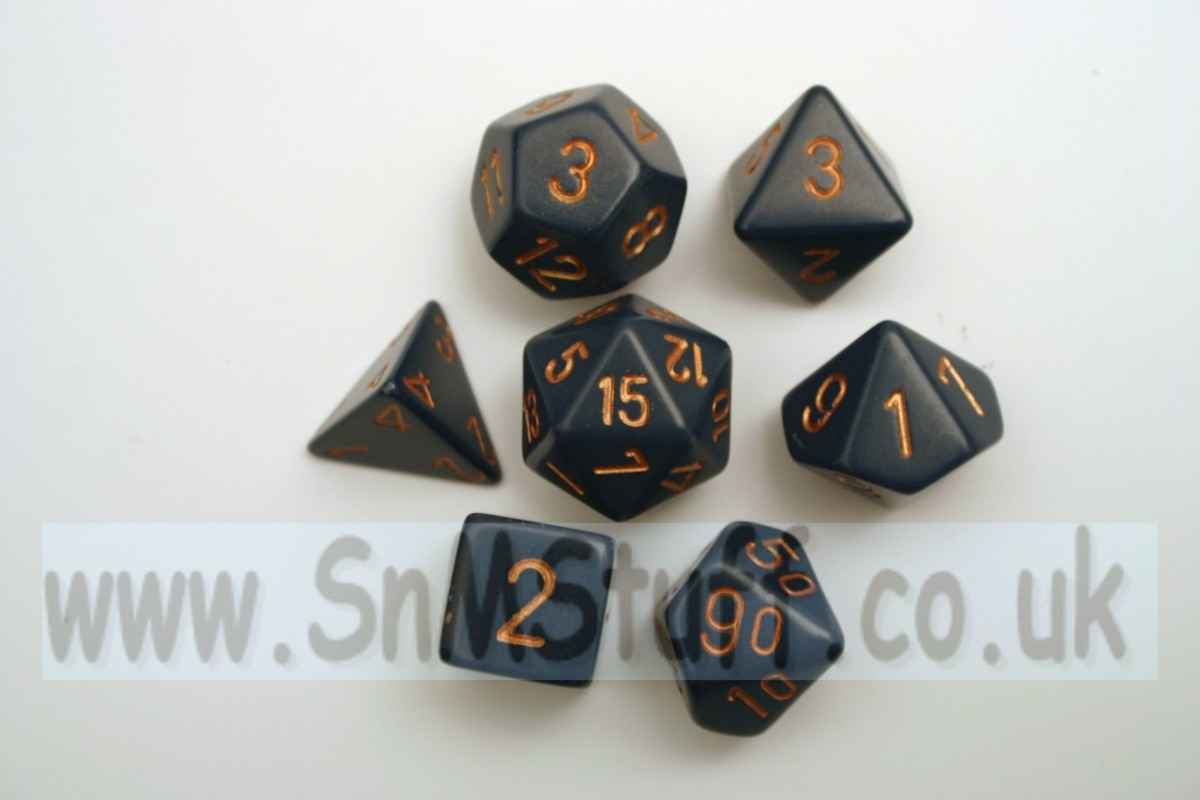 Chessex Opaque Polydice Set - Dusty Blue/gold