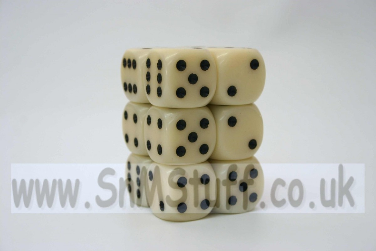 Chessex Opaque 16mm D6 x 12 - Ivory/black