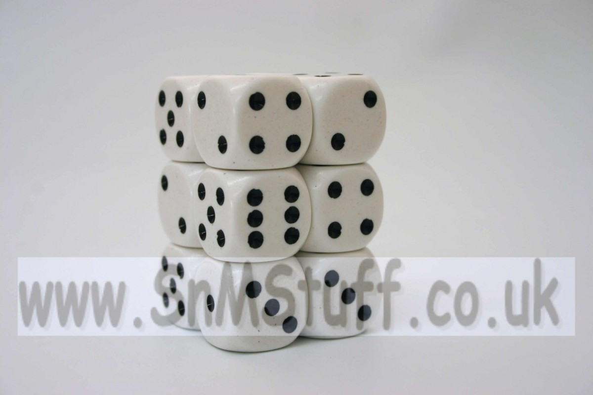 Chessex Opaque 16mm D6 x 12 - White/black