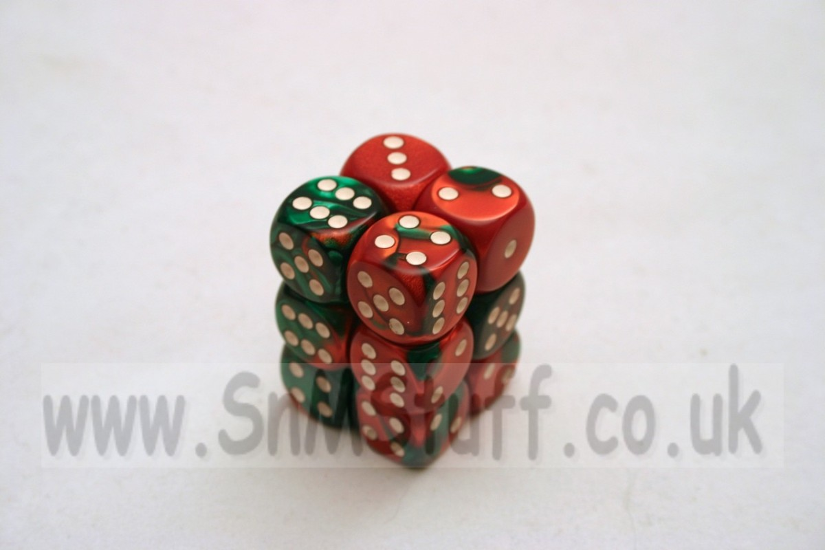 Chessex Gemini 16mm D6 x 12 - Green-Red/white