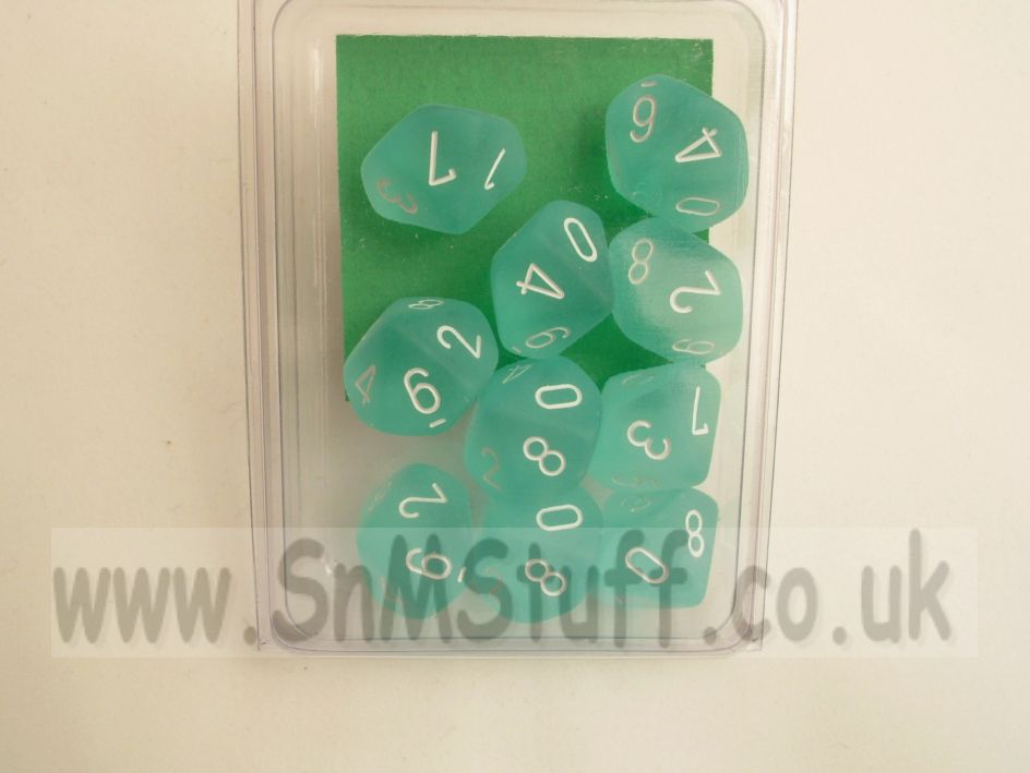 Chessex 10 x D10 Dice Set - Frosted Teal/white
