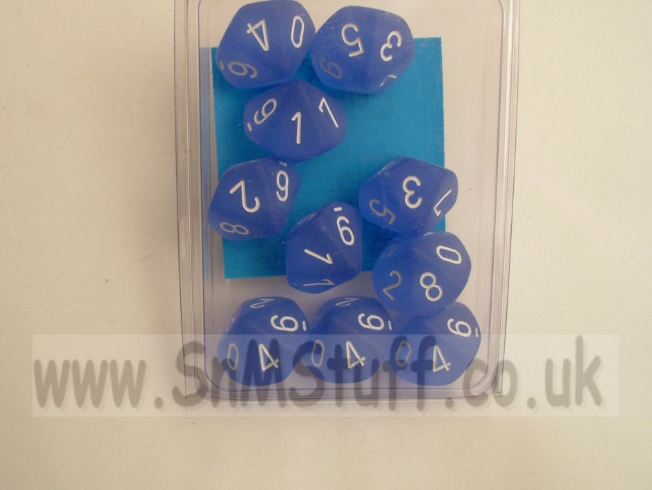 Chessex 10 x D10 Dice Set - Frosted Blue/white