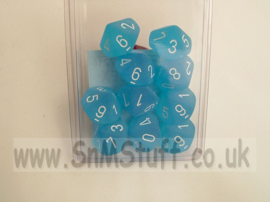 Chessex 10 x D10 Dice Set - Frosted Caribbean Blue/wh