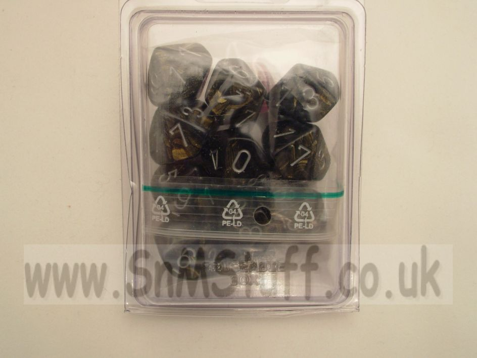 Chessex 10 x D10 Dice Set - Leaf Black Gold/silver