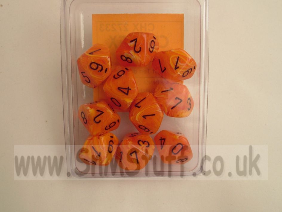 Chessex 10 x D10 Dice Set - Vortex Dice Orange/black