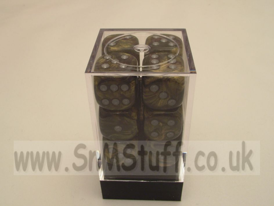 Chessex 16mm D6 x 12 - Leaf Black Gold/silver