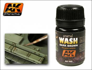 AK Interactive - Enamel Wash: Dark Brown for Green Vehicles