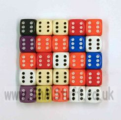 10mm Opaque Spot Dice - Pack of 25 Assorted Colours