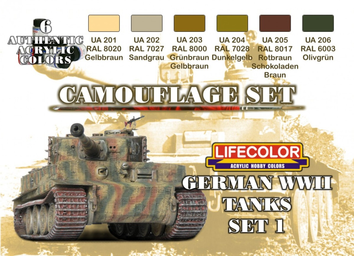 LifeColor German WWII Tanks 1 (22ml x 6)