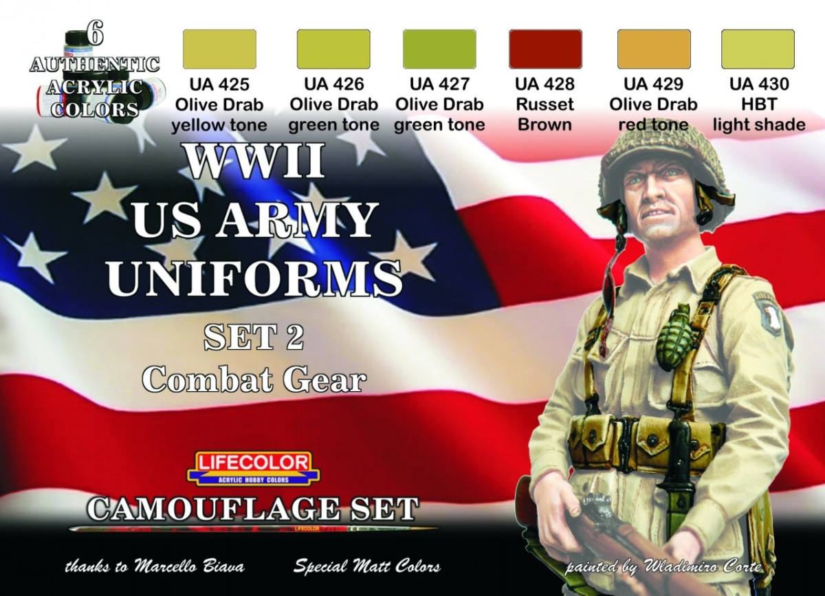 LifeColor WWII US Army Uniforms 2 (22ml x 6)