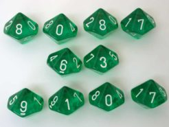 Chessex Translucent Green/white 10 x D10 Set