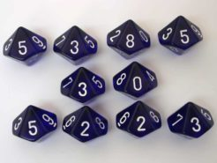 Chessex Translucent Blue/white 10 x D10 Set