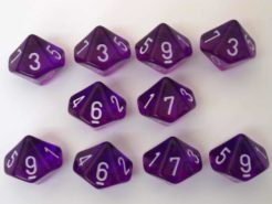 Chessex Translucent Purple/white 10 x D10 Set