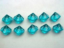 Chessex Translucent Teal/white 10 x D10 Set