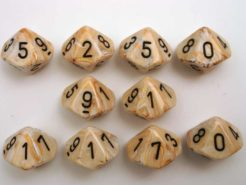 Chessex 10 x D10 Dice Set - Marble Ivory/black
