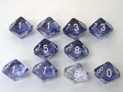 Chessex 10 x D10 Dice Set - Nebula Black/white