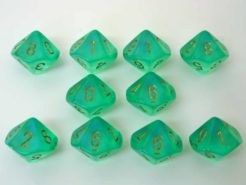 Chessex 10 x D10 Dice Set - Borealis Light Green/gold