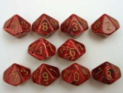 Chessex 10 x D10 Dice Set - Vortex Dice Burgundy/gold