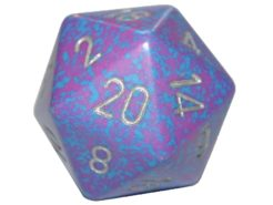 Chessex 20 Sided Dice - Large 34mm Speckled Silver Tetra