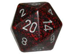 Chessex 20 Sided Dice - Large 34mm Speckled Silver Volcano