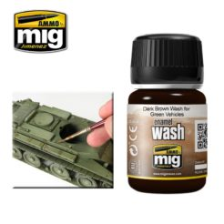 Mig Ammo Enamel Washes (35ml) - Dark Brown Wash For Green Vehicles